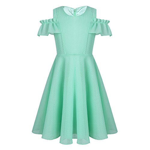 CHICTRY Girl's Lattice Mesh Off Shoulder Casual A-Line Dress for Holiday Party Wedding Birthday Mint Green 5-6