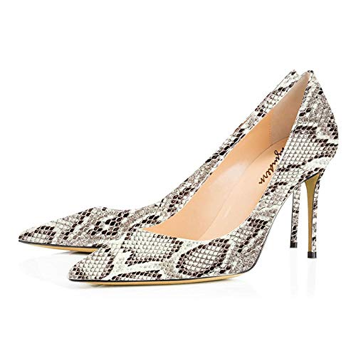 Maguidern Women's White Snake Print Sexy Pointed Toe High Heels, 4 inches Heels Patent Leather Pumps,Wedding Dress Shoes,Cute Evening Stilettos - 8 M US