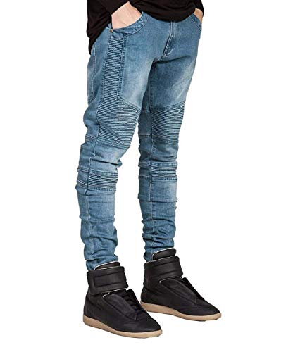 Long Biker Vintage Ragazzi Blau Jeans Classiche Destroyed Stretch Pantaloni Uomo Da Fit Torn Denim Slim EwXR7