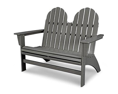 POLYWOOD Vineyard Adirondack Bench (Slate Grey) (Table Benches Polywood Picnic With)
