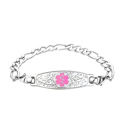 Divoti Custom Engraved Beautiful Olive Medical Alert Bracelet -Figaro Stainless -Pink-7.0
