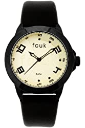 FCUK Men's FC1065BI Black Leather Strap Round Stainless Steel Ion-Plating Black Case Watch