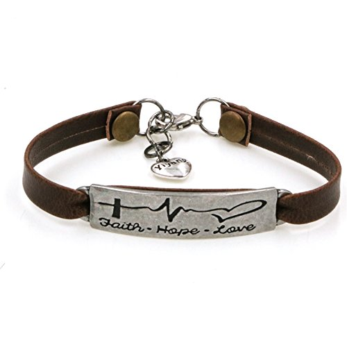 Yiyang Faith Hope Love Brown Leather Bracelet Fancy Electrocardiogram Engraved on Plate Encourage Christ Jewellery Gift