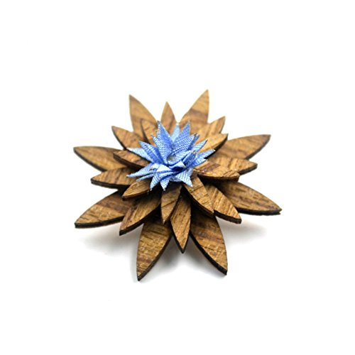 Mens Wood Lapel Flower Wooden Brooch Boutonniere Pin for Suit Wedding Corsage