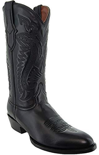 Soto Boots Mens Classic Round Toe Cowboy Boots H7001 (Black, 12)