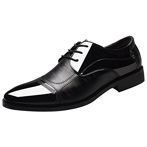 Mens Classic Oxford Shoes Size 5.5-10.5,Leather Pointed Toe Lace up Dress Shoes for Business Wedding Party (Black, US:10) (Shoes Men Wedding For)