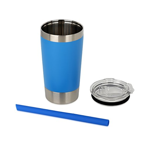 Housavvy Kids Tumbler with Lid and Straw Double-Walled Stainless Steel 12 oz, Blue