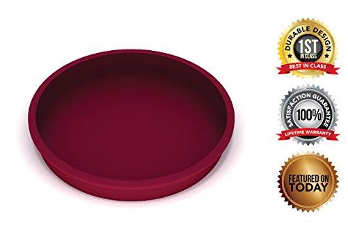 Premium-Eco-Friendly; BPA Free, 7.5 Inch - Silicone Cake/Pie Pan, THICK Round Silicone Mold, Non-stick;Commercial Grade, FDA/European Grade, 7.5 X 1.5 Inches, More Cuisine Essentials, Burgundy Wine