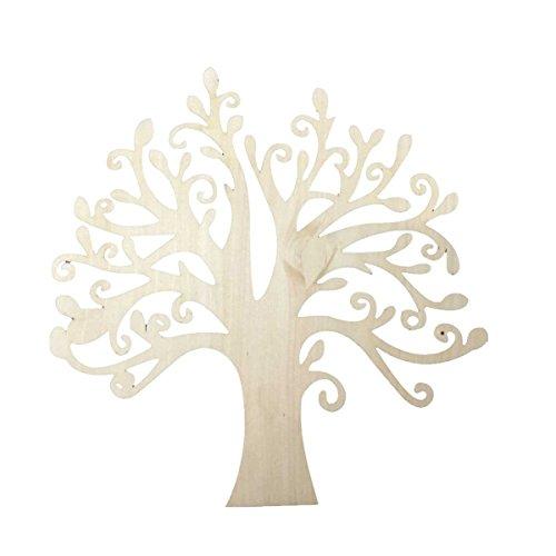 VORCOOL 10pcs Blank Wooden Tree Embellishments for DIY Crafts Embellishments (Wood Color)