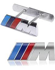 Aplicable a la marca B-M-W M de la etiqueta engomada del coche de la serie del logotipo de la etiqueta engomada del coche del metal, logotipo de la etiqueta engomada del logotipo de la parrilla delantera del metal 3D, accesorios decorativos de modificación del logotipo