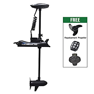 "Haswing Cayman 12v 55lbs Bow Mount Electric Trolling Motor Black 54"" Shaft with foot control"