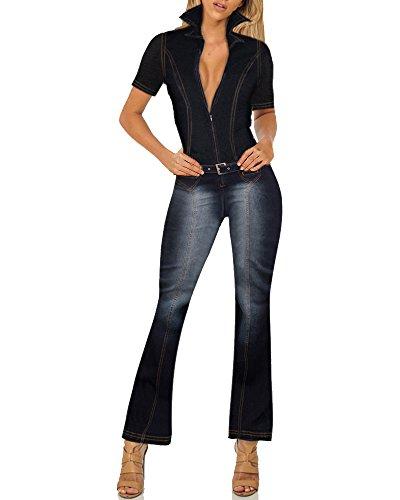 (HyBrid & Company Womens Stretch Denim Overalls PVJ156309 Rinse WASH S)
