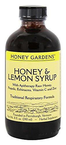Honey Gardens Syrup - Honey & Lemon, Syrup (Btl-Plastic) 8oz (Honey Gardens Wild Cherry Bark)