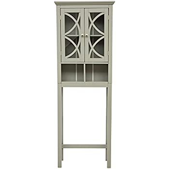 glitzhome wooden free standing storage cabinet with glass double doors gray. Black Bedroom Furniture Sets. Home Design Ideas