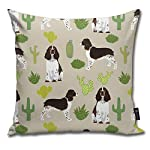 Brecoy English Springer Spaniel Dog Fabric Cactus Dog Design English Springer Spaniel Dogs Design Cactus Cushions Case for Sofa Home Decorative Pillowcase Gift Ideas Zippered Pillow Covers 18X18Inch 4