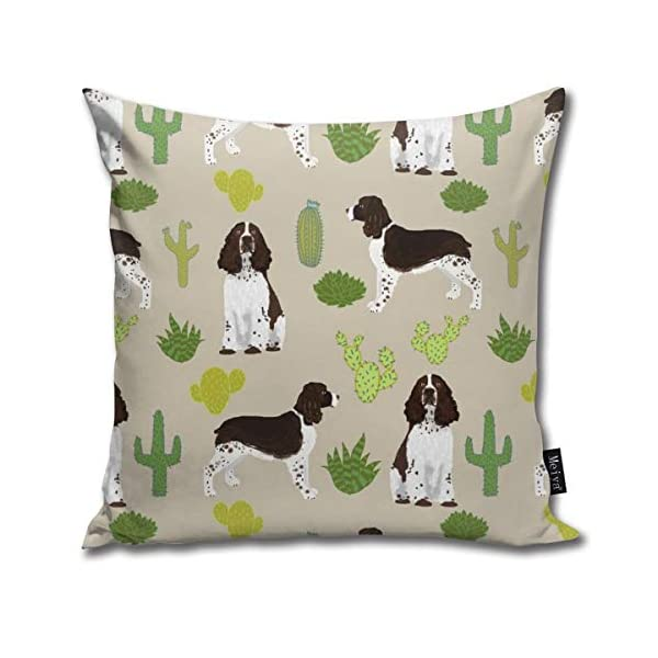 Brecoy English Springer Spaniel Dog Fabric Cactus Dog Design English Springer Spaniel Dogs Design Cactus Cushions Case for Sofa Home Decorative Pillowcase Gift Ideas Zippered Pillow Covers 18X18Inch 1