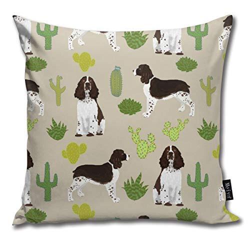 Brecoy English Springer Spaniel Dog Fabric Cactus Dog Design English Springer Spaniel Dogs Design Cactus Cushions Case for Sofa Home Decorative Pillowcase Gift Ideas Zippered Pillow Covers - Spaniel Pillow Springer