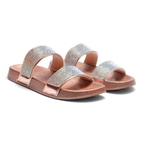 66fe57a44 Herstyle Anabell Womens Rhinestone Glitter Slide Footbed Sandal Slippers  Slip On Mules Summer Shoe