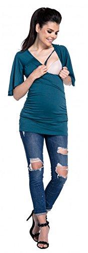 Zeta Ville - T-shirt a capa lactancia 2 en 1 escote de pico - para mujer - 435c Verde Botella