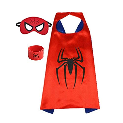 Spiderman Costume For Toddlers (Superhero Capes for Kids, Dress up Costumes-Satin Cape and Felt Mask (Spider-Man))