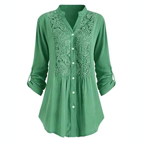 Oldlover-Women Blouse for Women Plus Size Roll Sleeve Lace Pattern V Neck Casual Blouse Shirt Tops Loose Tunic Top Green from Oldlover-Women