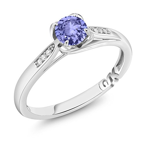 Tanzanite Jewelry White Ring Gold (10K White Gold 0.50 Ct Round Blue Tanzanite and Diamond Engagement Ring (Ring Size 7))
