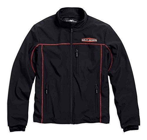 Harley-Davidson Men's Anton Windproof Mid-Layer Casual Jacket, Black 98575-16VM (Large) (Embroidered Interlock)