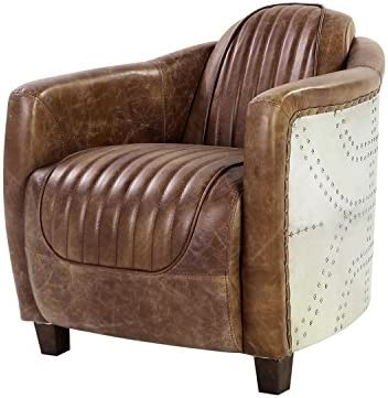ACME Brancaster Chair – – Retro Brown Top Grain Leather Aluminum