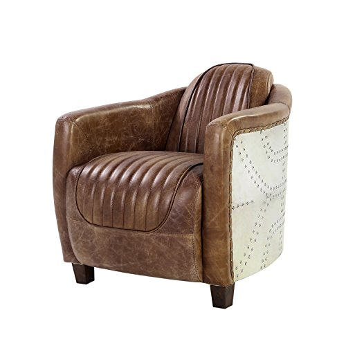 ACME Brancaster Retro Brown Top Grain Leather and Aluminum Chair