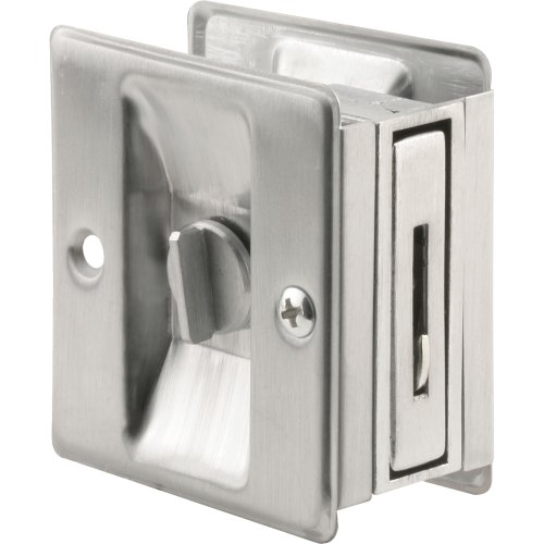(Prime-Line Products N 7161 Pocket Door Privacy Lock with Pull, Satin Chrome)