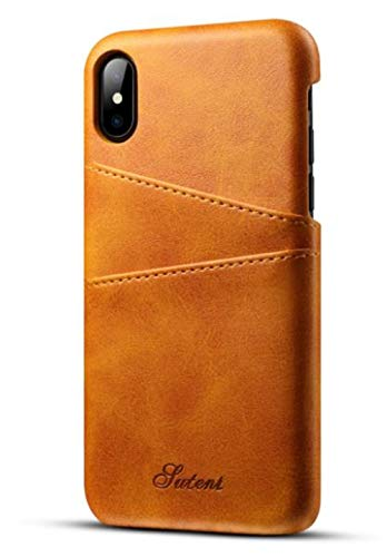 Price comparison product image iPhone XR Credit Card Case, Lozeguyc Slim PU Leather Back Case Cover With Wallet Phone Holder for iPhone XR 6.1 Inch-Yellow