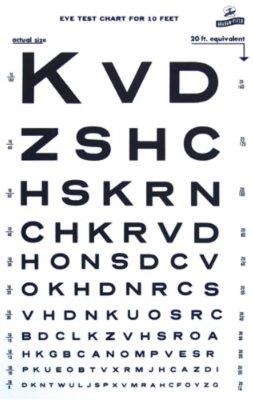 - Snellen Type Plastic Eye Chart - 10'
