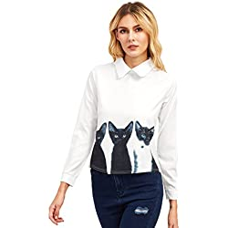 Floerns Women's Print Cats Peter Pan Collar Long Sleeve Shirt Tops Blouses White M