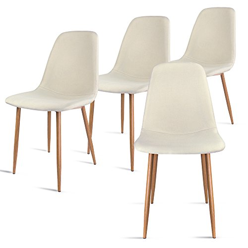 Leopard Modern Dining Chair with Metal Legs and Fabric,Dining room Chairs Set of 4,Beige (Set Dining Tube Room)