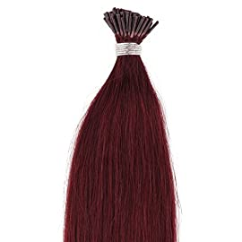 Beauty7 100s 1g/s Pre Bonded Stick I Tip Real Remy Human Hair Extensions 18″ 20″ 22″ 24″ #99j Red Plum (18″)