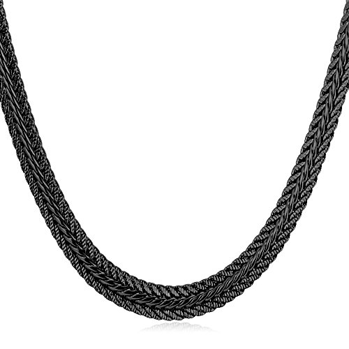 U7 Men Chain 18K Stamp Fashion Jewelry Foxtail Chain 6MM Wide Gun (18 Foxtail Chain)