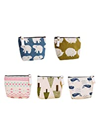 KWJOY Set of 5 Animal Canvas Change Coin Purse Wallet Bag Gift,Small Cute Coin Purse for Women,Girls,Whale, Polar Bear, Hedgehog and Tree