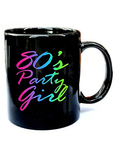 80s Party Girl Neon Retro Halloween Costume 1980s - Funny Gift Black 11oz Ceramic Cozy Coffee Mug]()