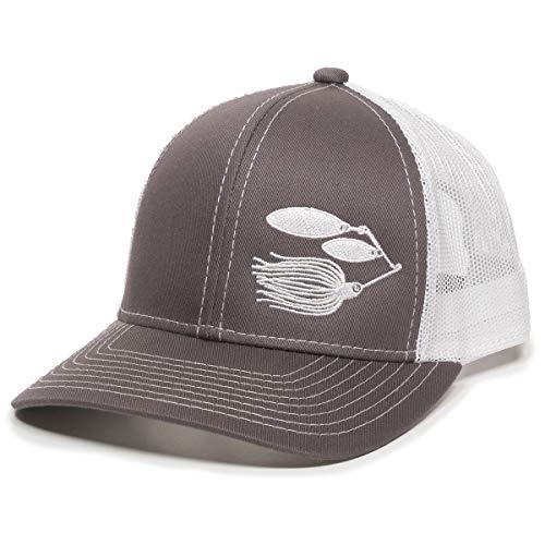 Fish Lure Trucker Hat - Adjustable Baseball Cap w/Plastic Snapback Closure
