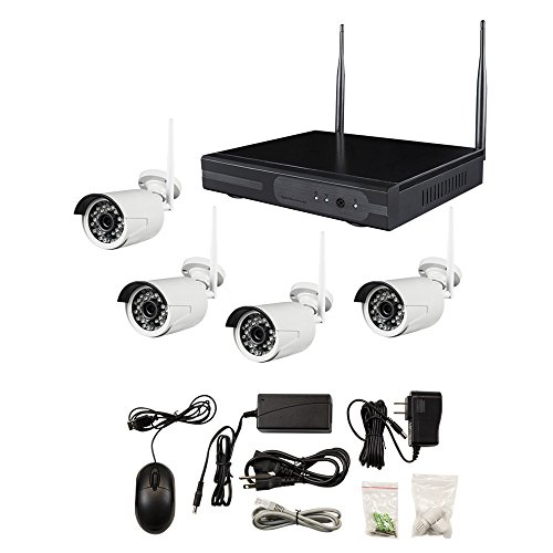 Metra Home Theater SPY-NVR4720W 4-Channel Wireless Camera Complete Surveillance System, White For Sale