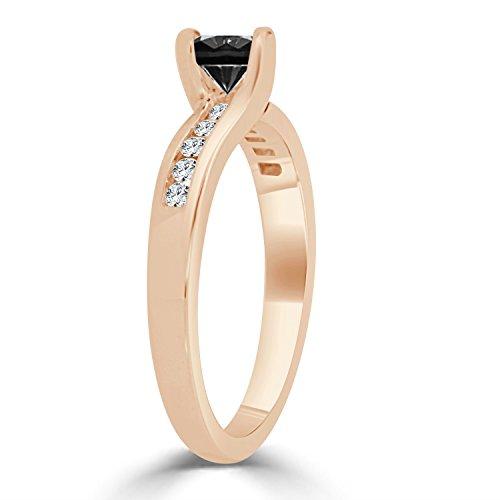 14k Gold Tension Black Diamond Engagement Ring (1/2 cttw,Black, I1-I2) Size 4-9