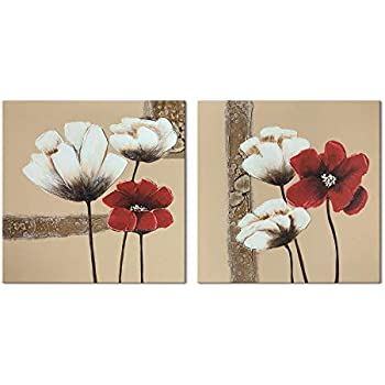 Wieco Art Red and White Flowers Canvas Prints Wall Art Abstract Floral Oil Paintings Style Pictures for Living Room Bedroom Bathroom Home Decorations 2 Piece Modern Stretched and Framed Grace Artwork