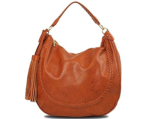 Imoshion Women's Fashionable Cognac Vegan Leather Elodie Hobo Bag With Double Side Tassel And Zipper Closure
