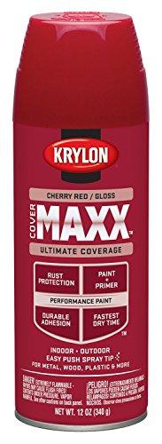 - Krylon K09112000 COVERMAXX Spray Paint, Gloss Cherry Red, 12 Ounce
