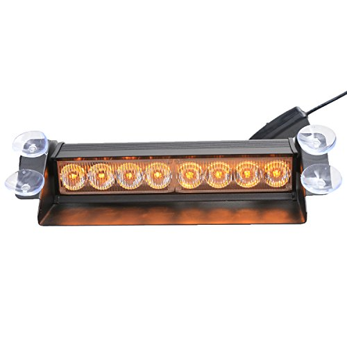 XKTTSUEERCRR (1 Set) 8LED Van/ Truck/ Vehicle/ Car Deck, Windshield, Grill, Dash Emergency Hazard Warning Strobe Flash Light Lamp Bar-(Amber) -