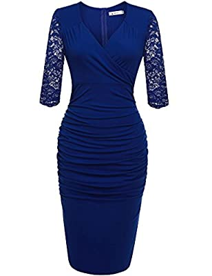 ANGVNS Women's V Neck Floral Lace Fitted Cocktail Evening Pencil Dress