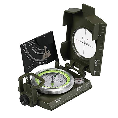 Proster IP65 Compass Camouflage with Sighting Clinometer Military Compass Metal Camping Compass Professional for Camping Hunting Hiking Geology Activities