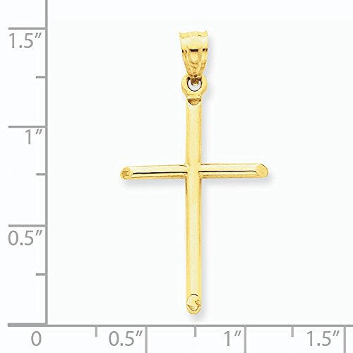 Poli 14 Carats Pendentif croix-Dimensions :  19,1 x 365 mm-JewelryWeb