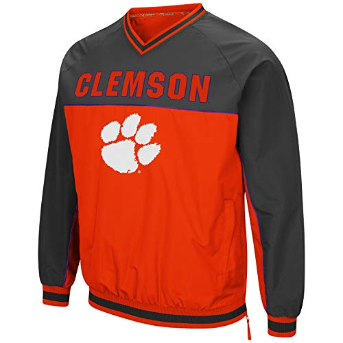 Colosseum Men's NCAA Athletic V-Neck Windbreaker Pullover with Tackle Twill Embroidery-Clemson Tigers-Orange/Charcoal-XXL