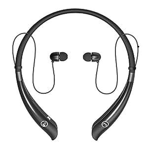 Monstercube - Auriculares Bluetooth 4.1 In-ear con banda en el cuello Estéreo inalámbrico con Micrófono headphone para Smartphones iPhone, Samsung, HTC, etc (MC930 Negro)